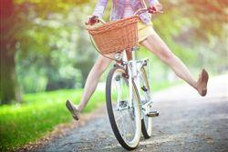 Woman getting pleasure from a bike ride